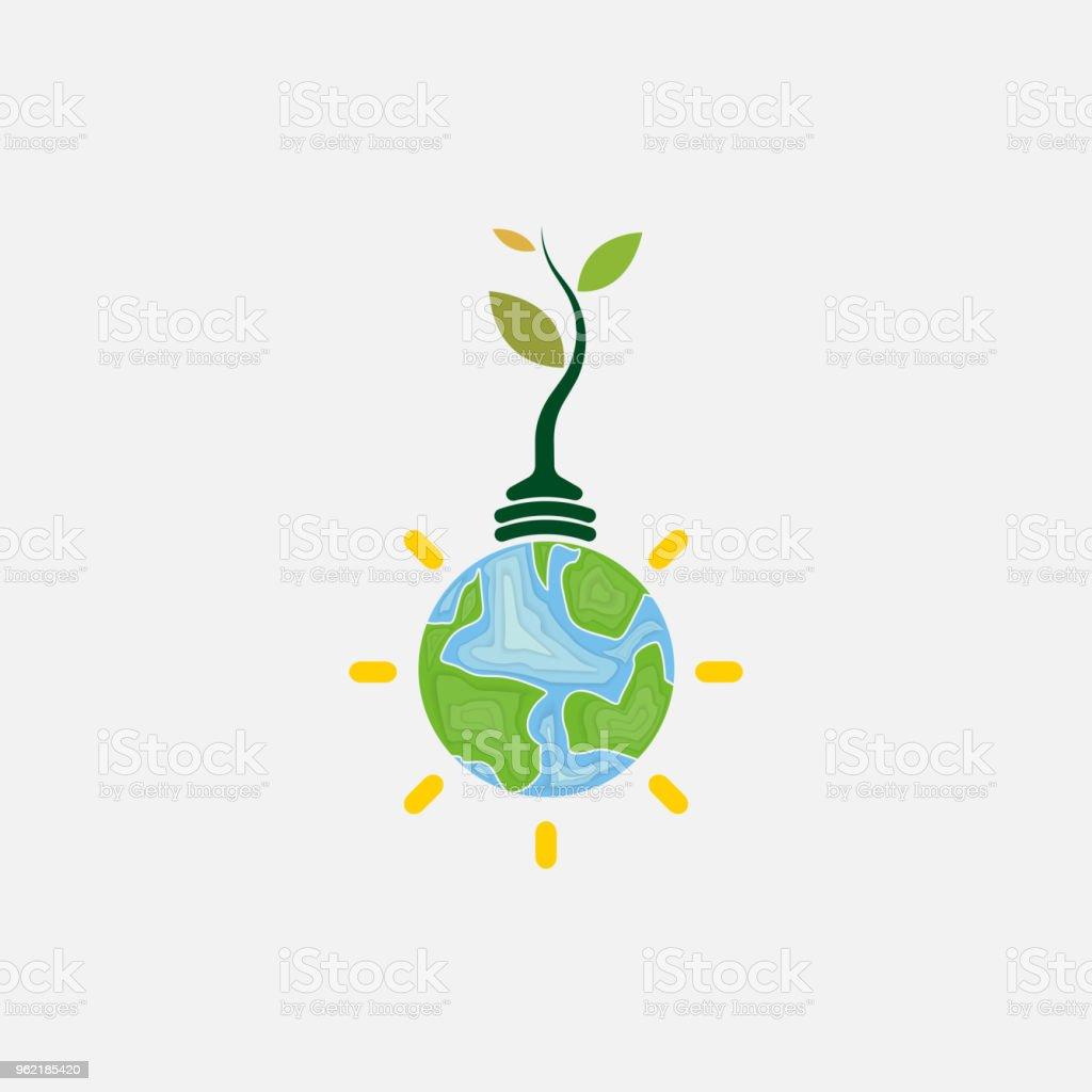 Ilustración de Icono De Bombilla Y El árbol Mundo Medio Ambiente Día ...