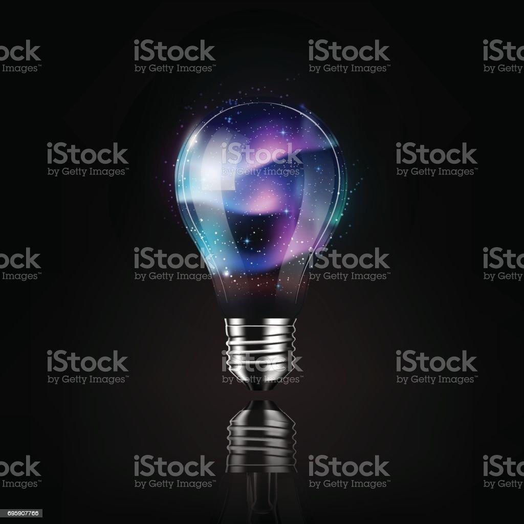 Espaço de aurora lâmpada interior, ideia conceito, ilustração vetorial transparente - ilustração de arte em vetor