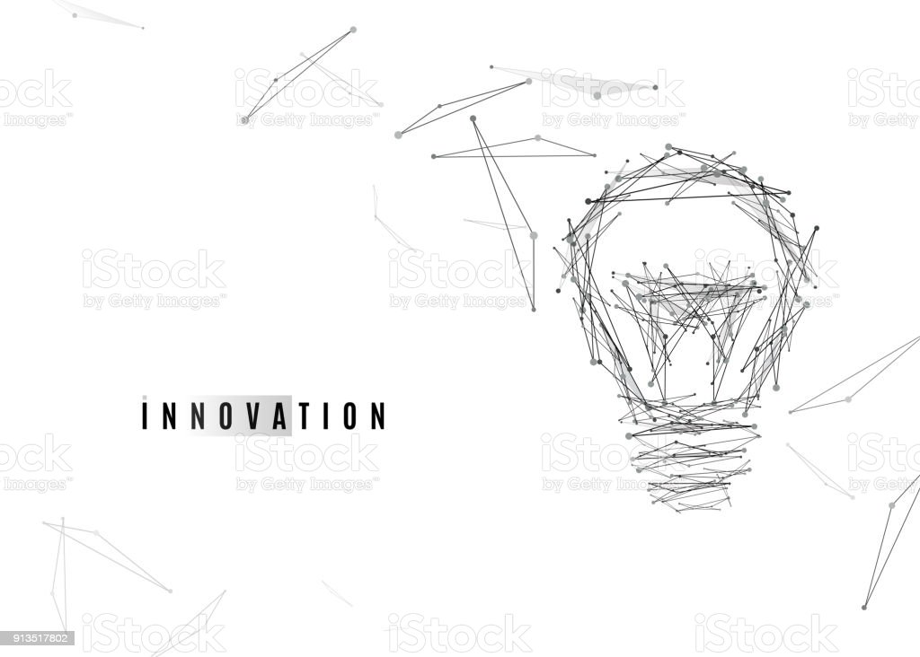Light Bulb background with lines and dots, triangles geometric shapes