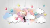 Light bulb balloon watercolor sky, cloud background, paper cut, vector