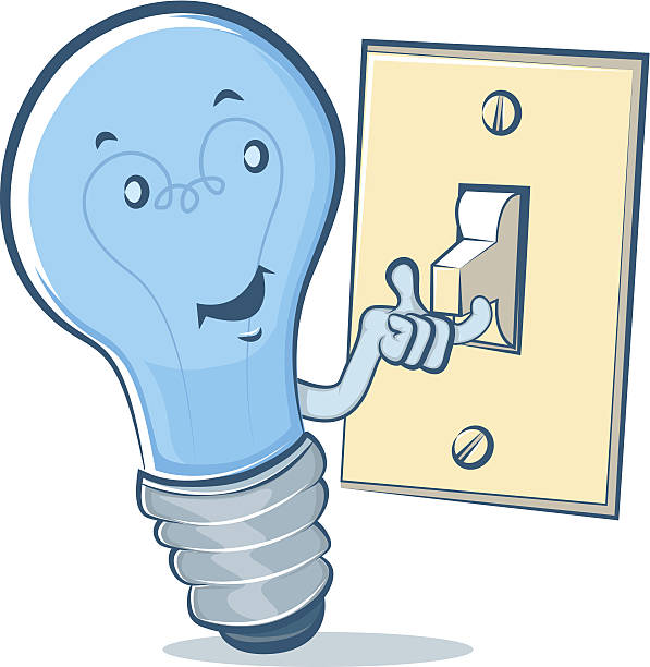 Light Bulb Character Flipping a Switch vector art illustration