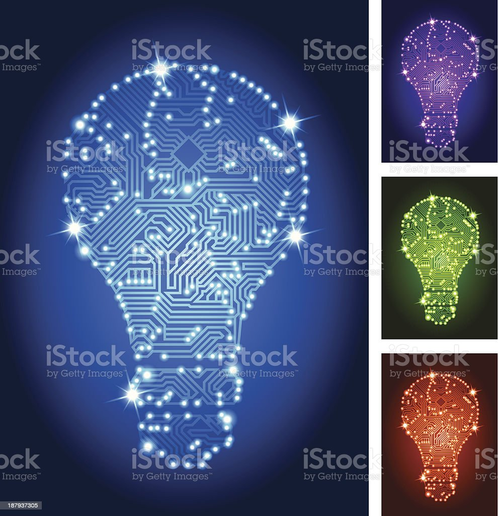 Light Bulb Circuit Board Color Set Stock Vector Art More Images Of Lamp Neatorama Royalty Free