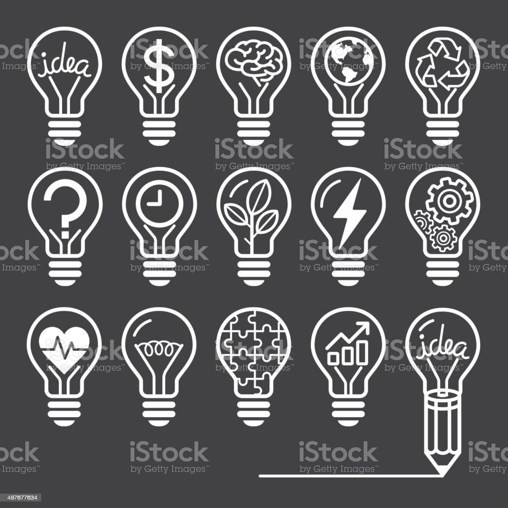 Glühbirne Konzept der Linie icons-Stil. – Vektorgrafik
