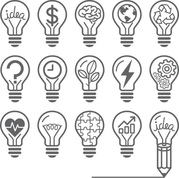 light bulb concept line icons style. - light through trees stock illustrations