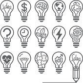 Light bulb concept line icons style.