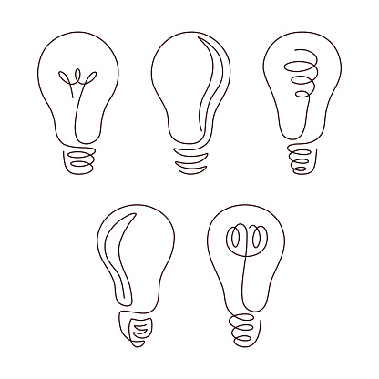 Light bulb continuous line vector illustration set with editable stroke.