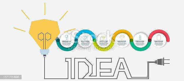 Light bulb creativity Idea concept vector illustration - infographics,template,steps.
