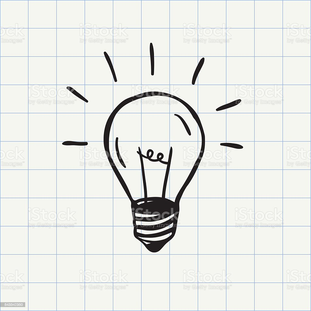 Light bulb doodle icon vector art illustration