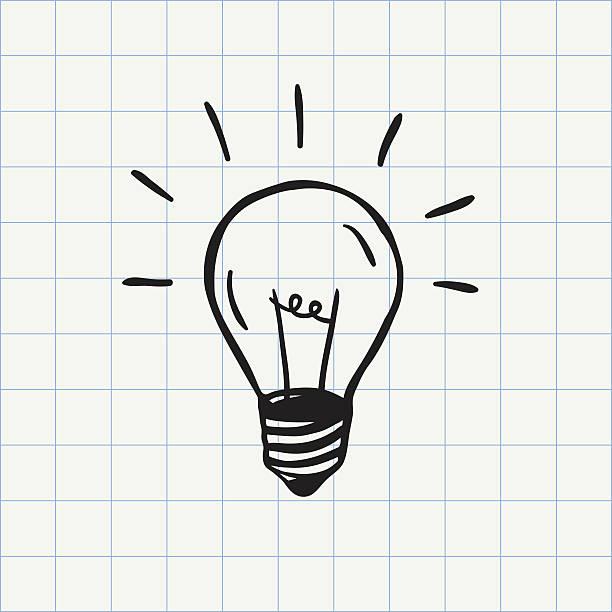 light bulb doodle icon - 전구 stock illustrations