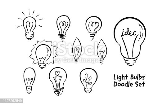 Light bulb doodle icons for logo, poster, banner, printing, For designing opinion leader, idea generating, eco lighting,  energy, business, Valentine's Day and leadership. Isolated on white background