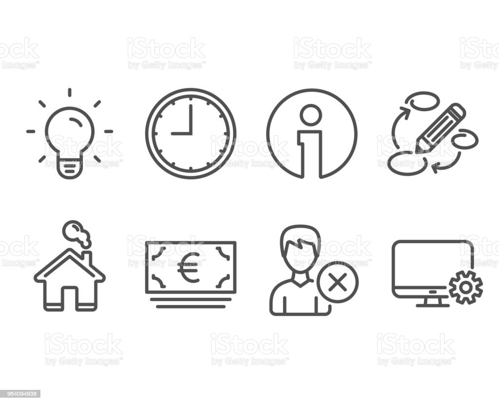 Light bulb, Euro currency and Remove account icons. Keywords, Time and Monitor settings signs. - Royalty-free ATM stock vector