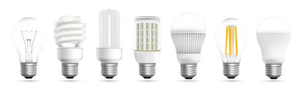 ilustrações, clipart, desenhos animados e ícones de vetor de efeito realista de evolução de lâmpada - led