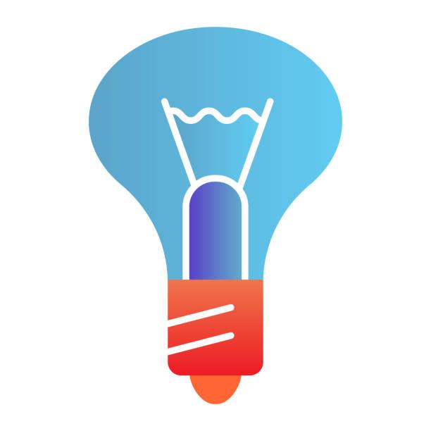 Light bulb flat icon. Lamp color icons in trendy flat style. Illumination gradient style design, designed for web and app. Eps 10. Light bulb flat icon. Lamp color icons in trendy flat style. Illumination gradient style design, designed for web and app. Eps 10 energy efficient lightbulb stock illustrations