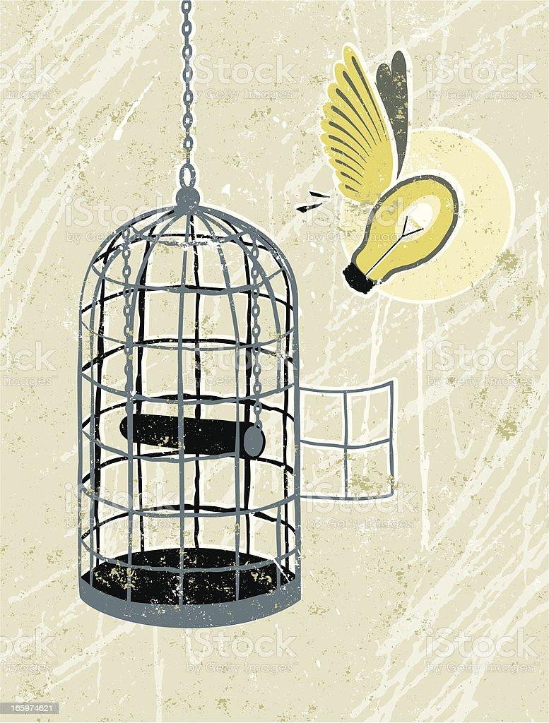 Light Bulb Flying Free From Bird cage vector art illustration