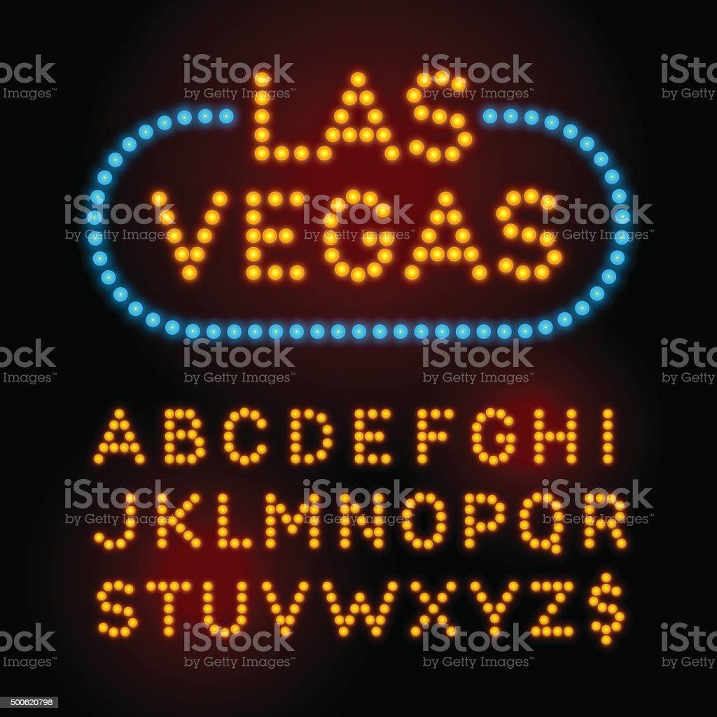 Light bulb font. Vector alphabet with casino effect letters. vector art illustration