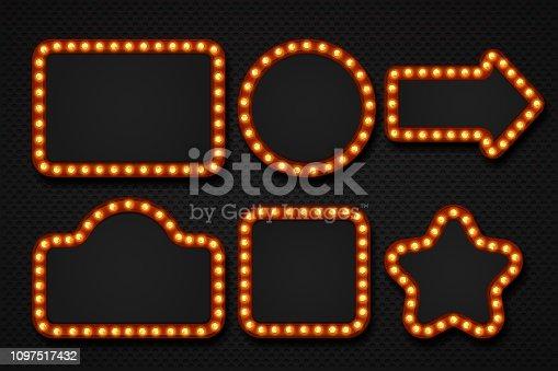 Light bulb frame. Makeup mirror marquee circus signboard cinema casino theater billboard lump border. Vector 3D light frames