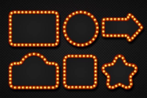 Light bulb frame. Makeup mirror marquee circus signboard cinema casino theater billboard lump border. 3D light frames vector art illustration