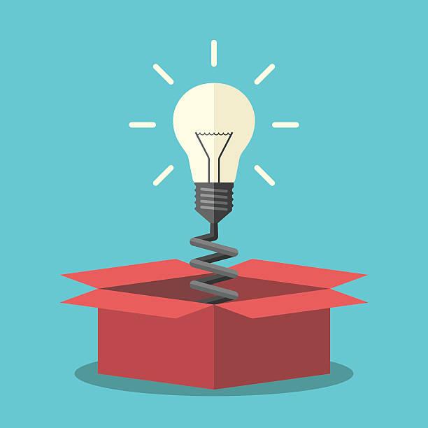 light bulb from box - entdeckungskiste stock-grafiken, -clipart, -cartoons und -symbole