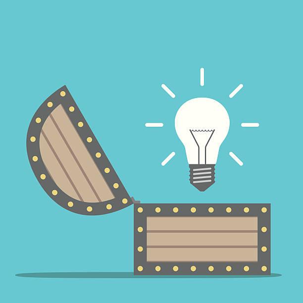 light bulb from chest - entdeckungskiste stock-grafiken, -clipart, -cartoons und -symbole