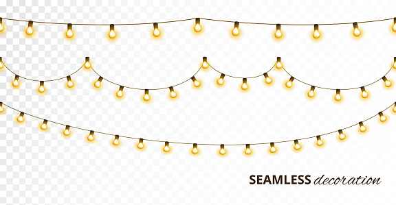 Light bulb garland, isolated vector decoration. String of golden christmas lights.