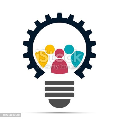 light bulb gear icon, meeting teamwork people logo.