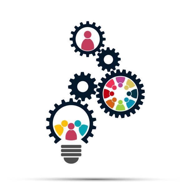glühbirne getriebe teamarbeit treffen menschen konzept - büro zukunft und niemand stock-grafiken, -clipart, -cartoons und -symbole