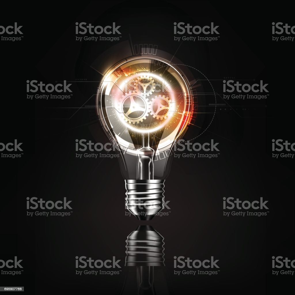 Light bulb gears inside, futuristic electronic technology and idea concept, transparent vector illustration vector art illustration