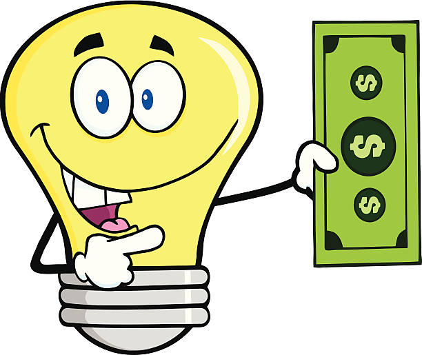 Light Bulb Holding A Dollar Bil Similar Illustrations: bil stock illustrations