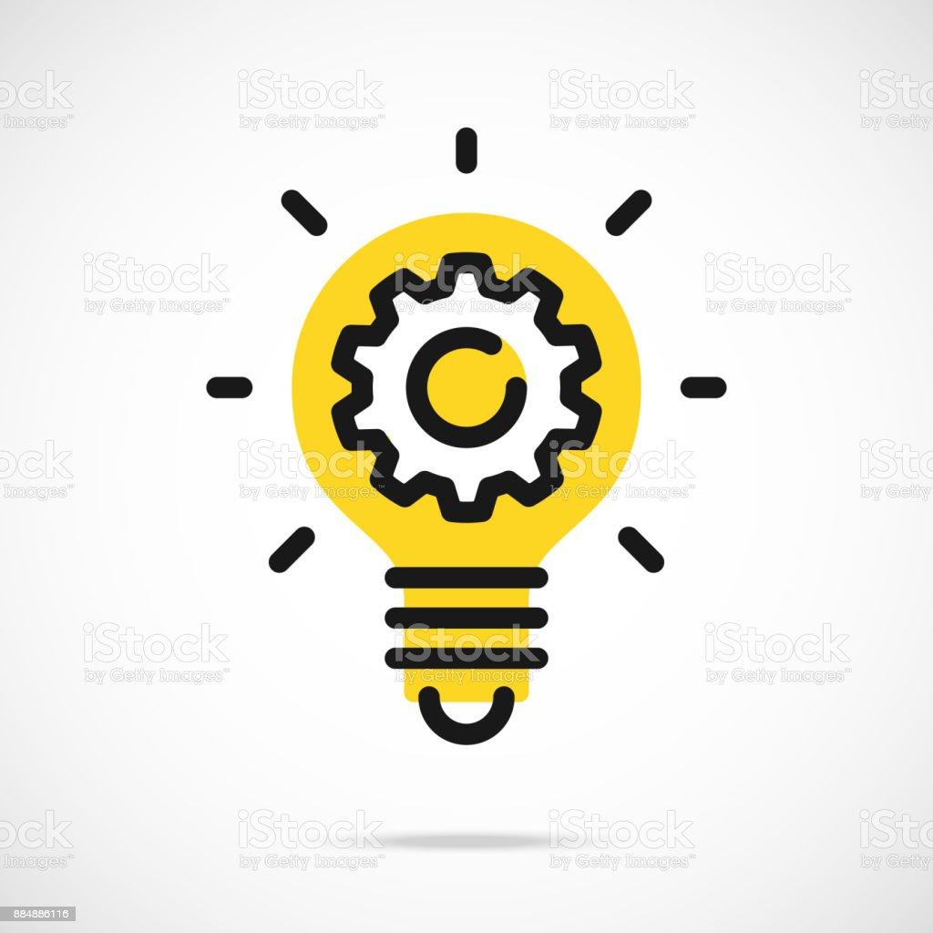 Light bulb icon and gear. Lightbulb and cog, cogwheel inside. Modern flat line vector icon