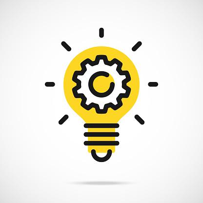 Light bulb icon and gear. Lightbulb and cog, cogwheel inside. Modern flat line vector icon clipart
