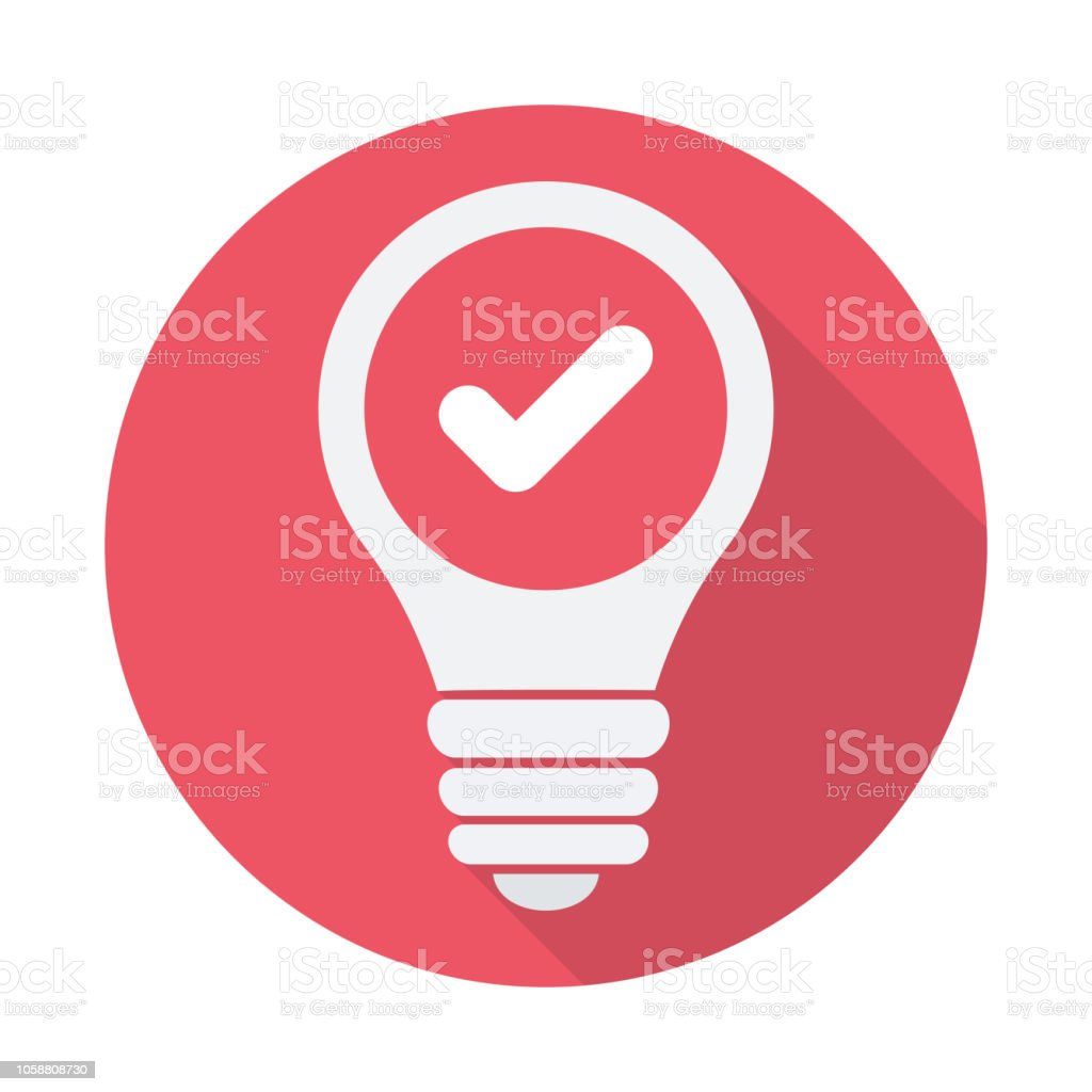 Light Bulb icon, Idea, solution, thinking icon with check sign. Light Bulb icon and approved, confirm, done, tick, completed symbol vector art illustration