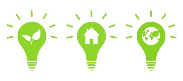 light bulb icon, idea symbol, flat vector illustration, eco light bulbs inside, a house, a planet, incandescent lamp, set of three bulbs. Vektor.