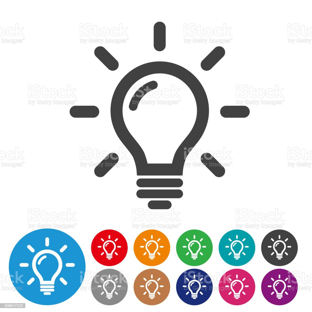 Awesome Light Bulb Icon Set   Graphic Icon Series Vector Art Illustration