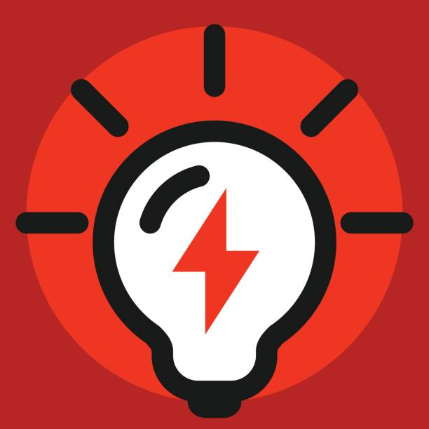 light bulb icon with energy sign vector art illustration