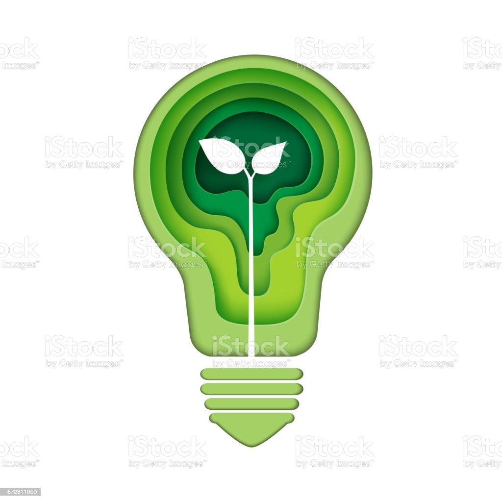 Icône d'ampoule avec art livre abstrait vert - Illustration vectorielle