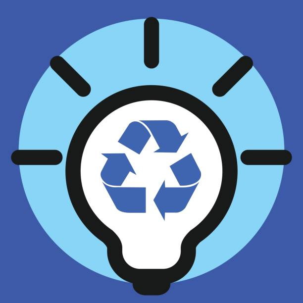 light bulb icon with recycle sign vector art illustration