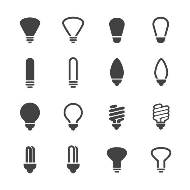 Light Bulb Icons - Acme Series Light Bulb, led light, energy efficient lightbulb stock illustrations