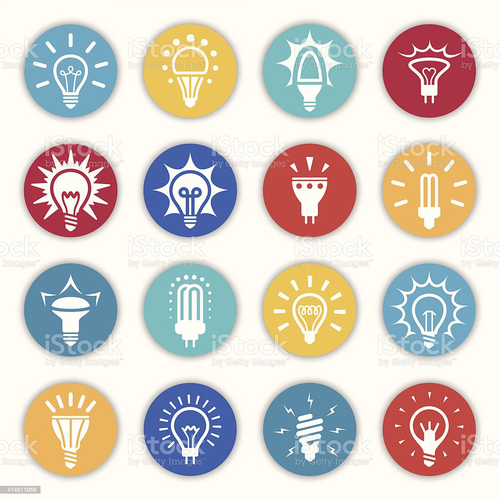 Light Bulb Icons and Symbols vector art illustration
