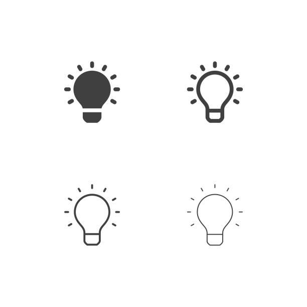 ikony żarówek - multi series - lampa elektryczna stock illustrations
