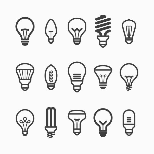 Light bulb icons Vector illustration with transparent effect. Eps10. energy efficient lightbulb stock illustrations