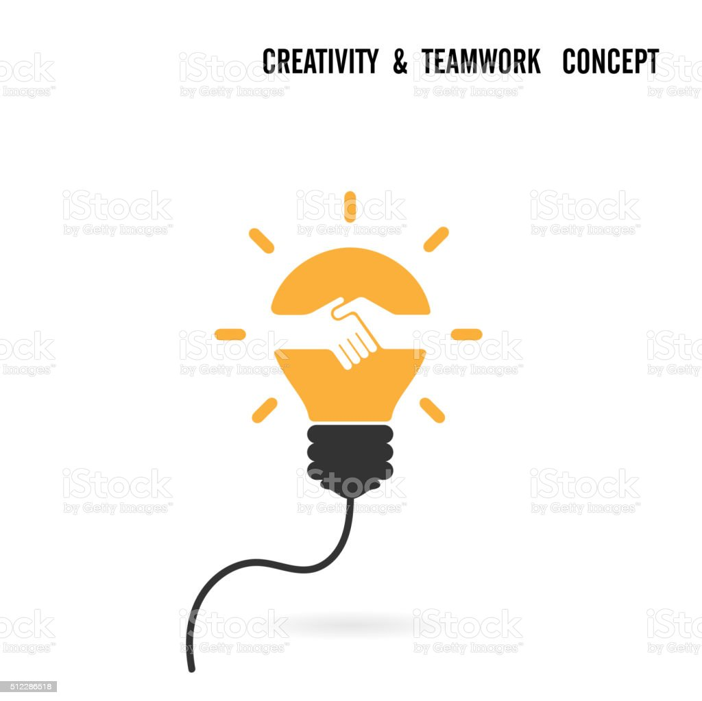 Light bulb idea and handshake concept vector art illustration