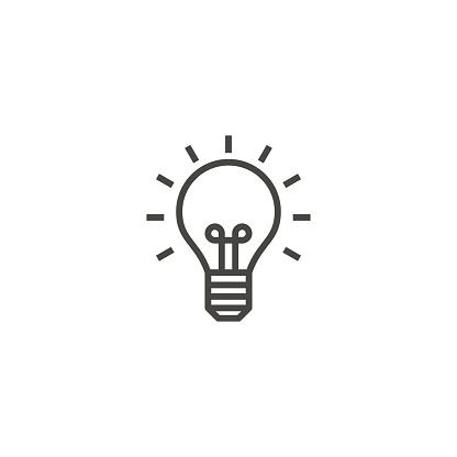light bulb, idea, lamp outline icon vector