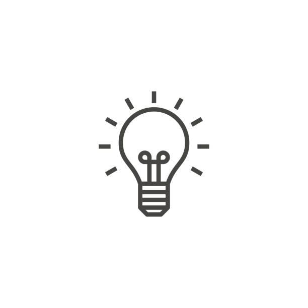 żarówka, pomysł, wektor ikony konturu lampy - inteligencja stock illustrations
