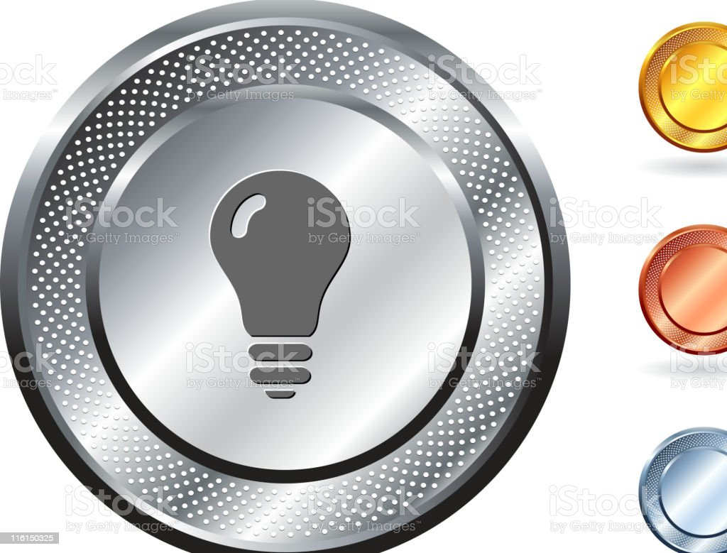 light bulb idea royalty free vector art on metallic button royalty-free stock vector art