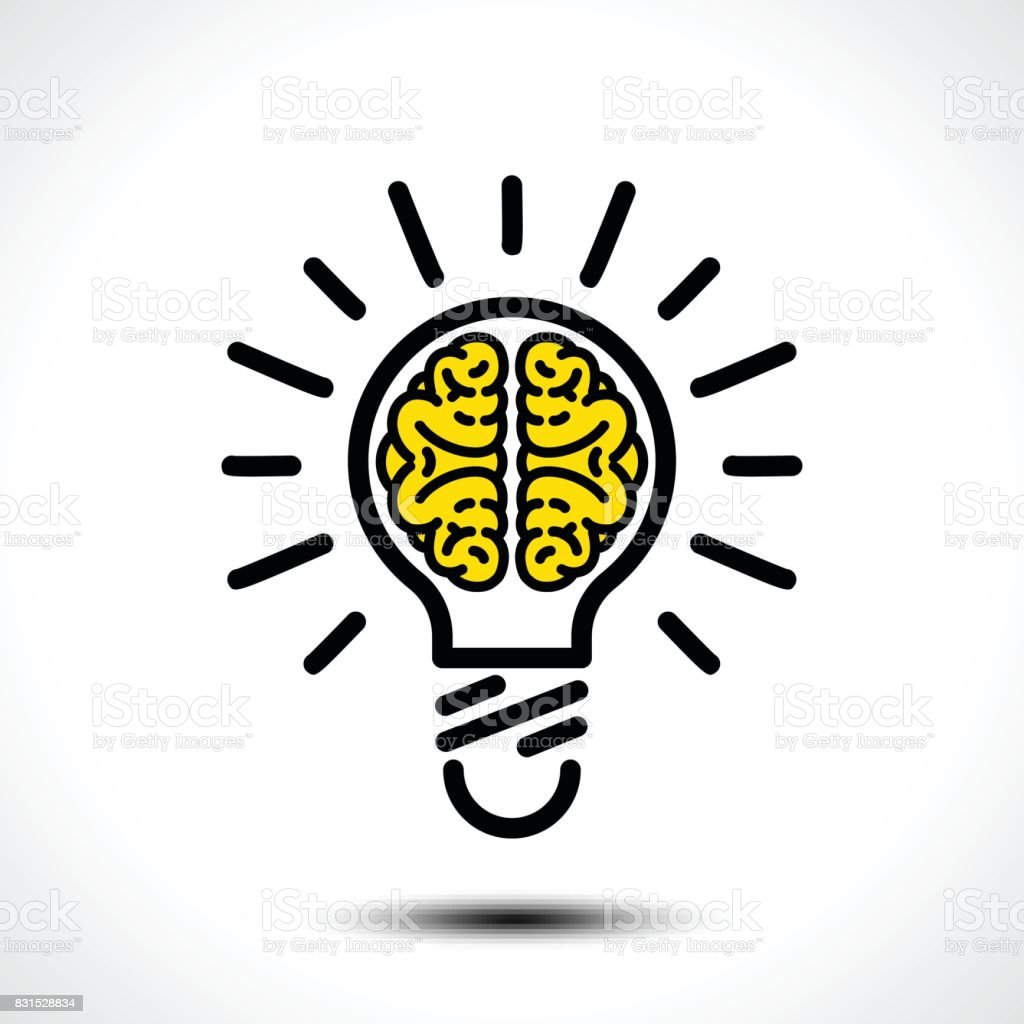 Light bulb idea with brain vector icon template. Corporate icon such as icontype vector art illustration