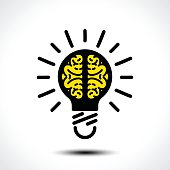 Light bulb idea with brain vector icon template. Corporate icon such as icontype. Creative light bulb idea brain vector illustration