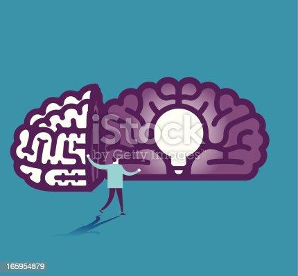 862431374 istock photo Light bulb in brain vector illustration 165954879