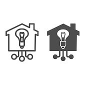 Light bulb in building line and solid icon, smart home concept, Electricity with connections sign on white background, House with lighting bulb icon in outline style mobile, web. Vector graphics