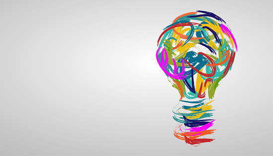 light bulb in various creative watercolors. modern design idea concept vector.