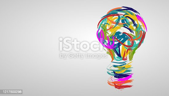 light bulb in various creative watercolors. modern design idea concept vector.